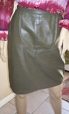 Jones New York 6P size leather pencil skirt green with lining knee-length