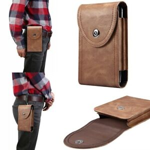 Universal Premium Leather Wallet Flip Pouch Bag Belt-Clip Case For Dual Phone