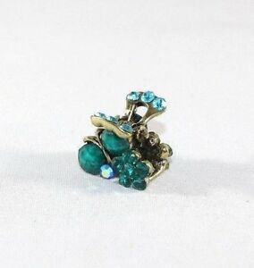 Brand New Super Adorable Green Cherry and Flower Blue Crystals Hair Clip Claw