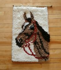 Vintage Latch Hook Rug Wall Hanging Art Horse Hanging from Brass Rod Raised Mane