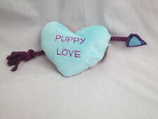 CHECKERBOARD HEART BLUE LOVE PUPPY BOOT AND BERKELEY SQUEAKER PLUSH DOG CHEW TOY