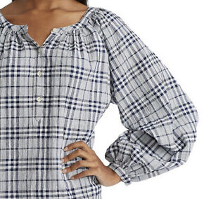 Chaps Ralph Lauren Raglan Sleeve Plaid Top Stretch Women Oversize XXL Button $60