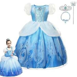Kids Girls Cinderella Princess Fancy Dress Toddler Cosplay Party Costume 3-10T