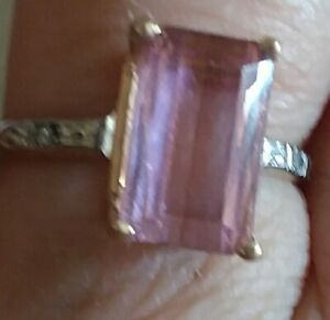 14 k  yellow and white gold Nigerian pink tourmaline ring size 6.5