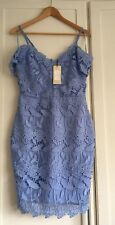 Lipsy Cornflower Blue Cold Shoulder Lace Bodycon Dress- Size 12