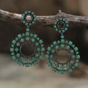Victorian Silver Emerald Gemstone Pave Diamond Drop Dangle Style Earring Jewelry
