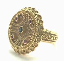 Vintage 18K Gold Ruby Emerald Round Textured Cable Twist Statement Cocktail Ring