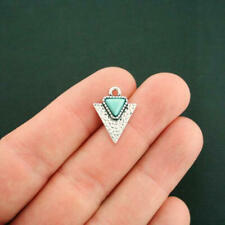 4 Turquoise Triangle Charms Antique Silver Tone Faux Turquoise Stone - SC6660