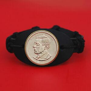2013 Presidential Coin Genuine Leather Wristband Bracelet - Woodrow Wilson