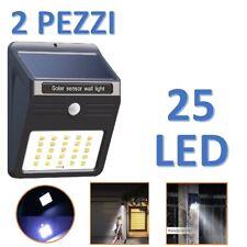 2 X FARO SOLARE DA ESTERNO FARETTO FOTOVOLTAICO + SENSORE LAMPADA LED