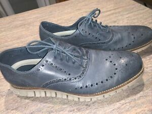 Cole Haan Grand OS Mens Zerogrand Oxford Shoes Blue Lace Up Wingtip Sz 11