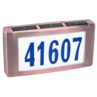 Solar  Light House Led Street Address Number Brass Copper Illuminated 1/5 digit