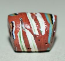 Antique Venetian Red Italian Lampwork Eye Bead With Center Stripe, African Trade