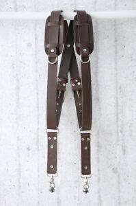 Dark Brown Leather Dual Camera Shoulder Strap,Dual Camera Harness