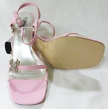 sandals women's strappy heel size 8.5 pink new clear wedding prom