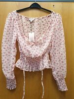 Miss Selfridge Petites Pink Flowered Blouse  Size Uk4 Ref B3