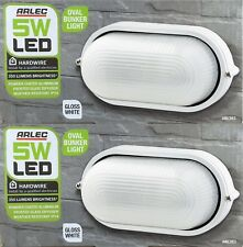 2 x 5W LED White Oval Outdoor Bunker Lights - IP54 Weatherproof Aluminium