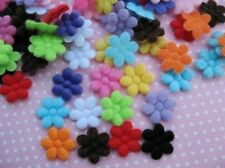 260pcs Cute Padded Furry 15mm Flower-13 Colors AF043