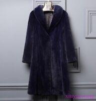 Real Genuine Mink Fur Long Womens Coats Lapel Thicken Winter Jackets Warm Parkas