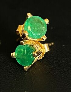 Estate 14k Yellow Gold Deep Green Emerald Stud Earrings