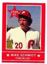 MIKE SCHMIDT 1983 STAR COMPANY #1 CHECKLIST PHILLIES