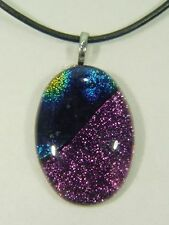 "BUTW Gorgeous Dichroic Glass 46.9mm 2Tone Oval Pendant 16-18"" Leather Cord 8705D"