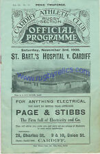 CARDIFF v St BART'S HOSPITAL 3 Nov 1928 RUGBY PROGRAMME