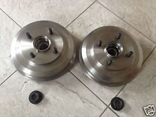 FORD FIESTA MK 6 02-07 TWO REAR BRAKE DRUMS FITTED BEARINGS WITH LOCK NUTS L & R