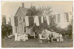FAMILY PICNIC FESTIVAL 13 STAR STARS & STRIPES NAUTICAL ANCHOR FLAG RPPC PHOTO