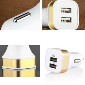 Dual USB Port 2.1A Compact Fast Car Charger Tablets Phones Quick Char Rapid B6Z9