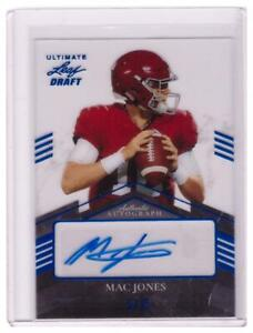 2021 Leaf Ultimate Draft Mac Jones RC Auto Autograph Patriots Blue Clear #D 5/15