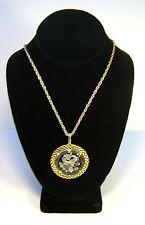 Vintage Signed TRIFARI Gold Tone Chain Necklace With Intaglio Pendant