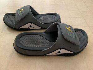 Nike Jordan Hydro 4 IV Retro Flight Slides, Mens Sz 11 Sandals Gray/Yellow/White