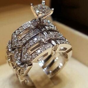 Luxury Oval White Sapphire Stainless Steel Promise Ring Wedding Jewelry Gift
