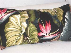 Tropical Hawaiian 100% Cotton Barkcloth Fabric LUMBAR PILLOW~Bird of Paradise-Bk