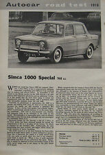 1963 Simca 1000 Special Original Autocar magazine Road test