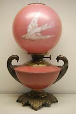 ANTIQUE OIL KEROSENE B&H MILLER BANQUET VICTORIAN GLASS SWIFT BIRD PINK LAMP