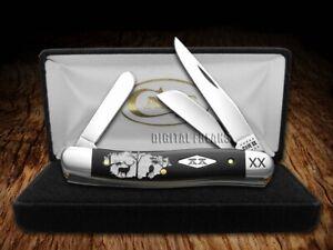 Case xx Medium Stockman Knife White Buck & Doe Deer Black Delrin 1/500 Knives