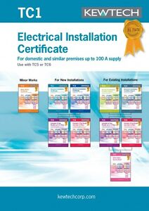Kewtech TC1 Electrical Installation Certificate for up to 100A Supply -