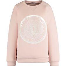 €835 NWT Balmain Womens Pink Pearlescent Logo Oversized Scuba Sweatshirt S M L
