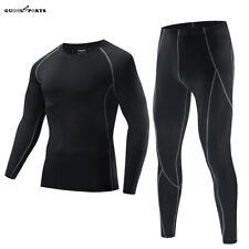 Men's Compression Base Layer Long Sleeve Gym Tight Top Pants Set Long Johns
