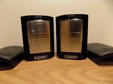Marlboro Zippo Lighter Collection of 2 Lot #3 with Brushed Chrome Cases NEW