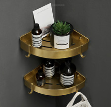 Brushed Gold Bathroom Shower Caddy Wire Space Aluminum Basket Storage Shelves