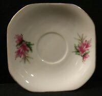 Vintage Made in Japan Marked Porcelain Square Saucer/Trinket Dish Pink Floral