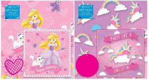 Cute Juvenile Female Gift Wrap Paper 2 Sheets, 2 Gift Tags & 1 Card & Envelope