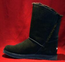 Women Winter Boots - Suede Leather / Australian Lamb Wool Lining - Black Size 8