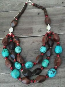 Sterling Silver Turquoise and Wood Beads Necklace Excellent