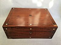 Antique Wooden Chest Work Box MOP Pewter Inlay Paper Lining Hessian Base