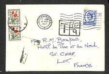 PETERBOROUGH ENGLAND TO LOT FRANCE POSTAGE DUE STAMPS 1967