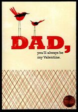 Valentine Card Dad Red Birds - Glittered - Valentine's Day Greeting Card